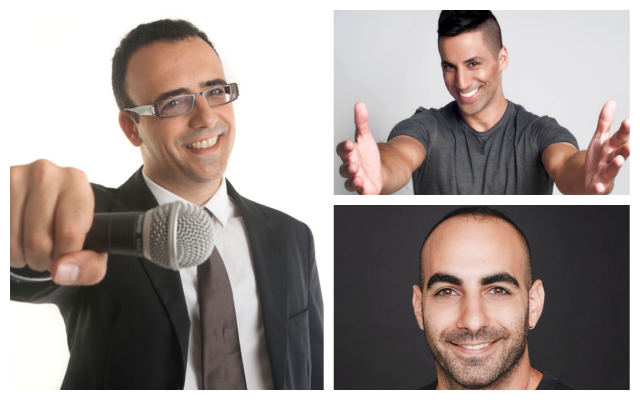 Clockwise, from left: Israeli comedians Yossi Tarablus, Shachar Hasson, and Yohai Sponder. (Courtesy)