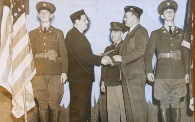 Leon Lewis receiving the Americanism Award from American Legion, in June 1939. (USC Libraries Special Collections)
