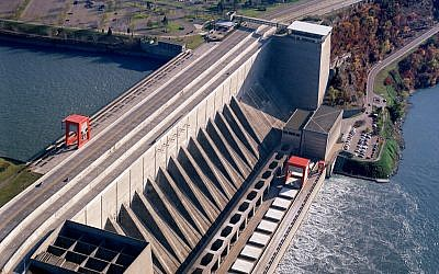 Aerial view of the Robert Moses Dam, part of the Niagara Power Project, Lewiston, New York, where the mPrest system is located. (Courtesy)