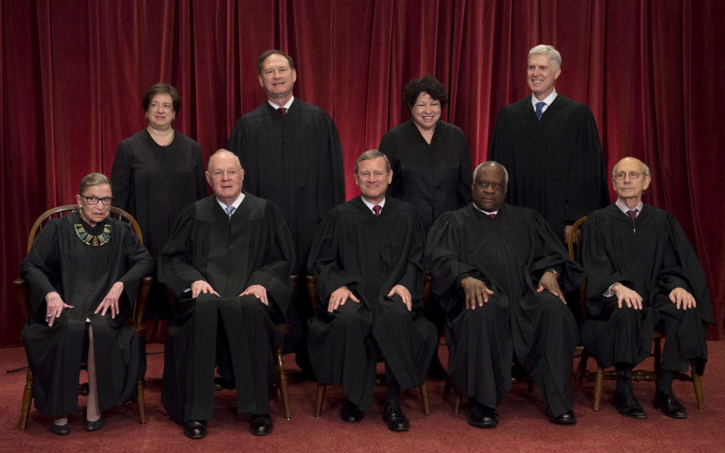 The US Supreme Court justices posing for a photo in Washington, DC, June 1, 2017. (Saul Loeb/AFP/Getty Images/via JTA)