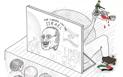 A cartoon appearing in the UC Berkeley student paper in October 2017 depicting law scholar Alan Dershowitz as engaged in the murder of Palestinians. (Twitter screen capture via JTA)