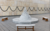 'Dog Dish,' a four-ton, Carrera marble sculpture by Zohar Gotesman about the dog-eat-dog world (Courtesy Elad Sarig)