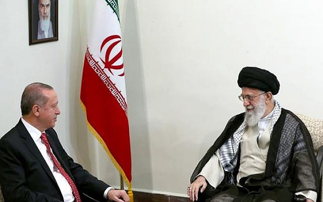 Iranian Supreme Leader Ayatollah Ali Khamenei, right, meets with Turkish President Recep Tayyip Erdogan in Tehran, October 4, 2017. (Photo released by Khamenei's office)