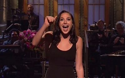 Israeli 'Wonder Woman' star Gal Gadot hosts 'Saturday Night Live,' October 7, 2017. (Screen capture: Daily Motion)