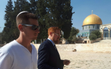 MK Yehudah Glick, right, and his son Shlomo visiting the Temple Mount in Jerusalem, October 25, 2017. (Twitter screen capture)