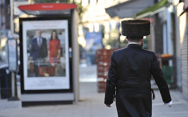 A Jewish man walking in London's Golders Green neighborhood, which is home to a large Jewish population, September 23, 2015. (Tony Margiocchi/Barcroft Media via Getty Images)