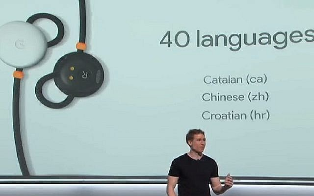 Screenshot from a Google presentation on the new Google Earbuds for PIxel phones that can translate in real time in 40 languages. (Screenshot/YouTube)