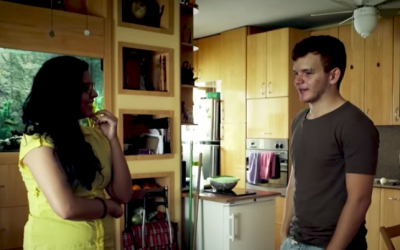 Kifah Dasuki, an Arab vegan activist, and Guy Podolovich, a YouTube star, meet and cook together in one of the chapters of 'Work in Progress,' created by filmmakers Tomer and Barak Heymann (Courtesy Heymann Brothers)