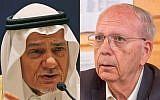 Former Mossad chief Efraim Halevy (right) and Saudi Prince Turki bin Faisal al-Saud (composite image: Wikimedia Commons/AP)