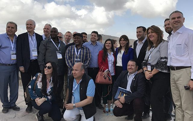 An Israel Allies Foundation delegation of 26 lawmakers from 14 countries tours the northern West Bank on October 8, 2017. (Jacob Magid/Times of Israel)
