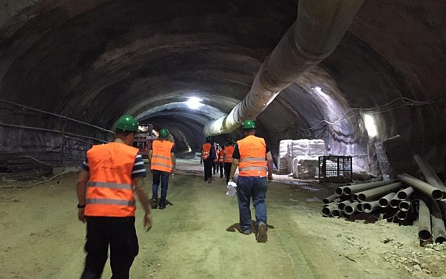Tunnels beneath Shazar Boulevard, where traffic will run from the entrance to Jerusalem, October 27, 2017 (ToI staff)