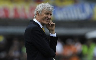 Jose Nestor Pekerman coach of Colombia gestures during a match between Colombia and Ecuador as part of FIFA 2018 World Cup Qualifiers, at Roberto Melendez Stadium, March 29, 2016. (Gal Schweizer/ LatinContent/ Getty Images via JTA)
