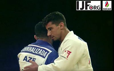 Israeli gold-medalist judoka Tal Flicker on the mat at the Judo Grand Slam in Abu Dhabi, where local judo authorities banned all Israeli symbols, October 26, 2017. (YouTube screen capture)