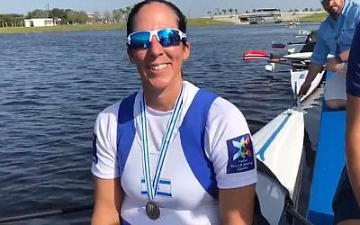 Moran Samuel smiles after winning the silver medal in the World Rowing Championships in Sarasota, Florida, on October 1, 2017. (Screen capture/Daniel Rowing Center)