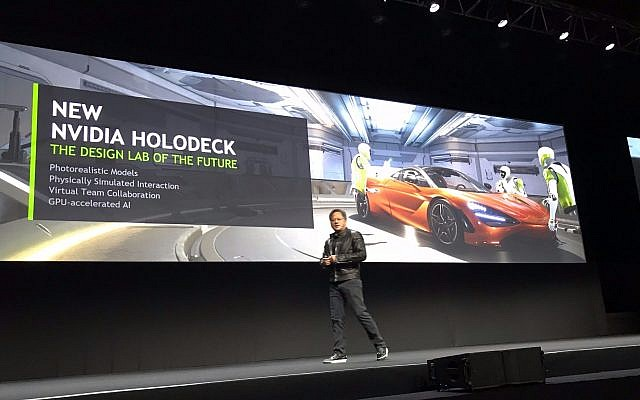 Nvidia Corp.'s Jensen Huang presents the Holodeck processor at the firm's GTC developers conference in Tel Aviv, October 18, 2017 (Shoshanna Solomon/Times of Israel)