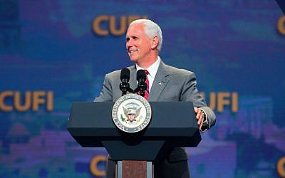 US Vice President Mike Pence speaks at the Christians United for Israel conference in Washington, DC, on July 7, 2017. (CUFI via JTA)