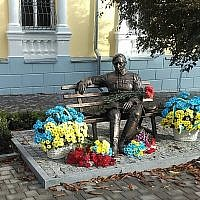 A new statue of the Ukrainian nationalist Symon Petliura, which was unveiled on October 14, 2017 in the Ukrainian city of Vinnitsa. (Courtesy)