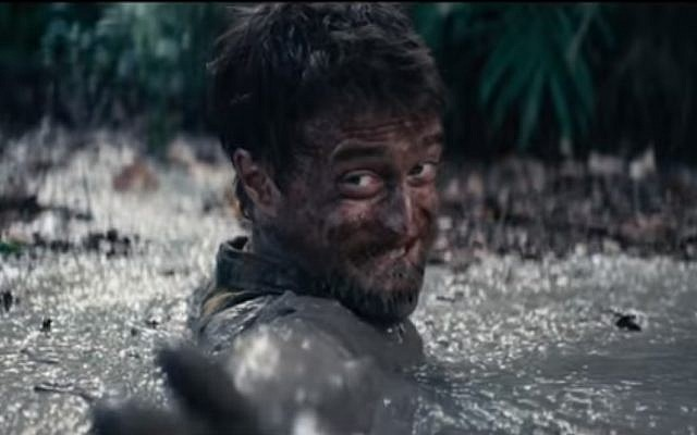 Harry Potter star Daniel Radcliffe in a scene from 'Jungle' about real-life Israeli Yossi Ghinsberg, who got lost in the Bolivian jungle. (Youtube screenshot)