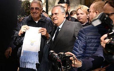 Lazio President Claudio Lotito visits Rome's Synagogue on October 24, 2017 in Rome, Italy. The visit comes after  Lazio fans left anti-Semitic graffiti and stickers, some featuring Anne Frank wearing the shirt of rivals AS Roma, during their Serie A match against Cagliari.  (Photo by Marco Rosi/Getty Images via JTA)