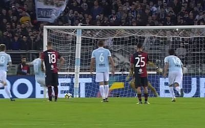 A screen capture of Lazio's (Blue) match against Cagliari in Rome on October 22, 2017. (Screen capture/YouTube)