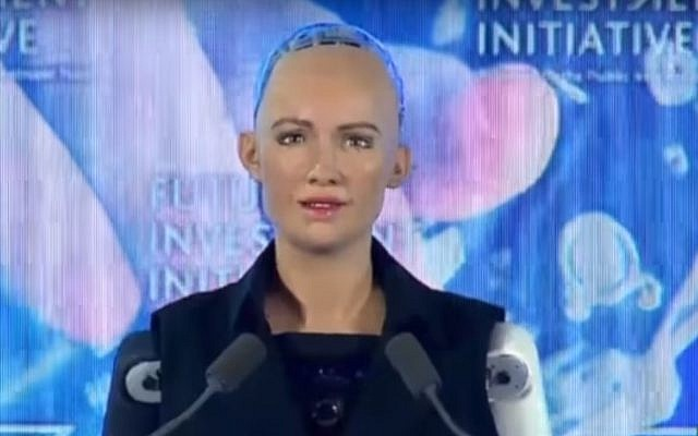The robot Sophia at a Riyadh conference on October 25, 2017. (screen capture: YouTube/Arab News)