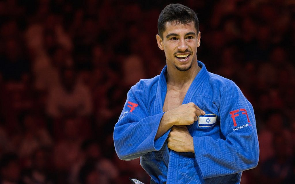 Tal Flicker of Israel during the fight in the 66kg category at the Judo World Championship Budapest 2017, on August 28, 2017, in Budapest, Hungary. (Rok Rakun/Pacific Press/LightRocket via Getty Images/JTA)