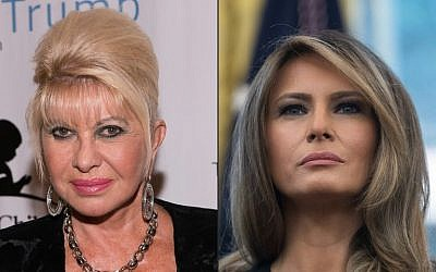 This combination of pictures created on October 9, 2017, show (L) a file photo taken on September 15, 2014  of Ivana Trump attending The Eric Trump 8th Annual Golf Tournament at Trump National Golf Club Westchester in Briarcliff Manor, New York. A file photo taken on September 1, 2017 (R) shows US First Lady Melania Trump looking on as President Donald Trump speaks in the Oval Office at the White House in Washington, DC, after receiving an update from disaster relief organizations on Hurricane Harvey recovery efforts . (AFP PHOTO / GETTY IMAGES NORTH AMERICA AND AFP PHOTO / Dave Kotinsky AND NICHOLAS KAMM)