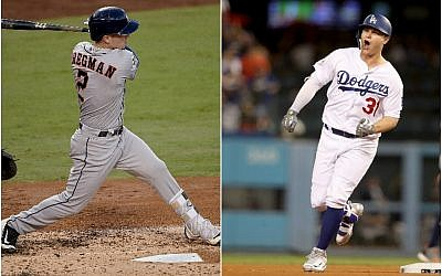 Alex Bregman, left, of the Houston Astros, and Joc Pederson of the Los Angeles Dodgers are powering their clubs early in the World Series. (Bregman photo: Kevork Djansezian/Getty Images; Pederson photo: Christian Petersen/Getty Images via JTA)