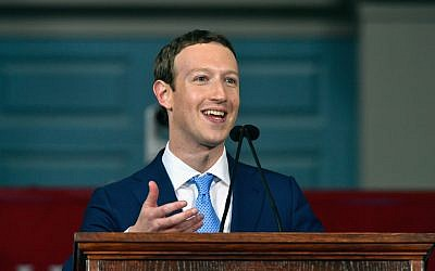 Mark Zuckerberg delivering a commencement speech at Harvard University in which he quoted the Hebrew Mi Shebeirach prayer, May 25, 2017. (Paul Marotta/Getty Images via JTA)
