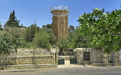 The sabra-shaped tower designed by Czech architect Martin Rajnis rises out of the lush gardens of Jerusalem's Hansen House (Courtesy Hansen House)