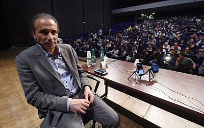 This file photo taken on March 26, 2016, shows Swiss scholar Tariq Ramadan at a conference in Bordeaux. (AFP Photo/Mehdi Fedouach)
