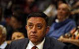 Avi Gabbay, head of the opposition Labor party, attends a conference of Israeli think tank Mitvim, the Israeli Institute for Regional Foreign Policies, in Jerusalem on November 1, 2017. (AFP PHOTO / MENAHEM KAHANA)
