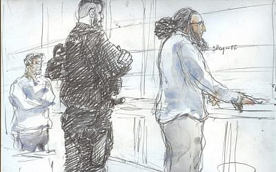A court sketch made on November 2, 2017, shows Abdelkader Merah (R) on the last day of his trial at the Paris' courthouse. (AFP Photo/Benoit Peyruco)