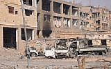 A general view shows damaged buildings in the eastern Syrian city of Deir Ezzor on November 4, 2017. (AFP PHOTO / STRINGER)