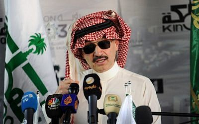 This file photo taken on May 11, 2017 shows Saudi Prince Alwaleed bin Talal speaking during a press conference in the Red Sea city of Jeddah. ( AFP PHOTO / Amer HILABI)