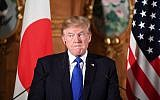 US President Donald Trump attends a joint press conference with Japanese Prime Minister Shinzo Abe at Akasaka Palace in Tokyo on November 6, 2017.   (AFP PHOTO / JIM WATSON)