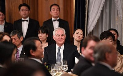 US Secretary of State Rex Tillerson attends a state banquet dinner attended by US President Donald Trump and Japanese Prime Minister Shinzo Abe in Tokyo on November 6, 2017. (AFP/Jim Watson)