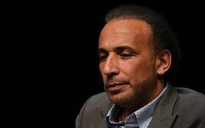 "Swiss scholar on Islam Tariq Ramadan taking part in a conference on the theme ""Live together""in Bordeaux, on March 26, 2016. (AFP Photo/Mehdi Fedouach)"