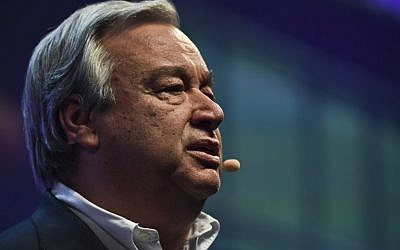 United Nations secretary general Antonio Guterres delivers a speech during the opening ceremony of the 2017 Web Summit in Lisbon on November 6, 2017.(AFP/Patricia de Melo Moreira)