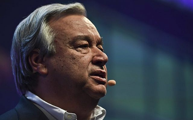 United Nations secretary general Antonio Guterres delivers a speech during the opening ceremony of the 2017 Web Summit in Lisbon on November 6, 2017. (AFP/Patricia de Melo Moreira)