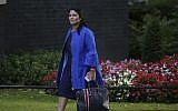 This photo taken on September 12, 2017, shows Britain's then international development secretary Priti Patel arriving at the weekly meeting of the cabinet at Downing Street in central London. (AFP Photo/Daniel Leal-Olivas)