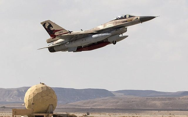 An Israeli Air Force F-16C takes off during the Blue Flag air exercise at the Ovda air force base, north of the Israeli city of Eilat, on November 8, 2017. (Jack Guez/AFP)