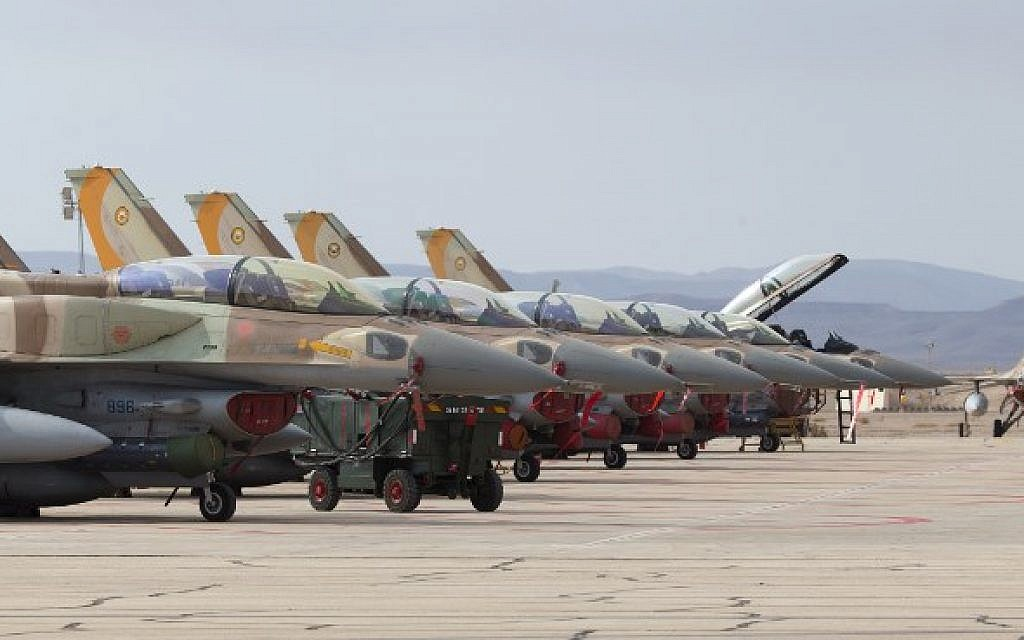 Israeli Air Force F-16I are pictured on the tarmac during the Blue Flag air exercise at the Ovda air force base, north of the Israeli city of Eilat, on November 8, 2017. (Jack Guez/AFP)