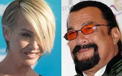 Left: Portia de Rossi attending the Disney premiere of 'Finding Dory' in Hollywood, California, on June 8, 2016 (AFP); right: actor Steven Seagal seen at the opening ceremony of the 2014 Chinese American Film Festival in Pasadena, California, November 4, 2014. (AFP and Getty Images North America/Valerie Macon)