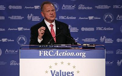 This file photo taken on October 12, 2017 shows Roy Moore speaking at the annual Family Research Council's Values Voter Summit in Washington, DC. (AFP Photo/Getty Images North America/Mark Wilson)