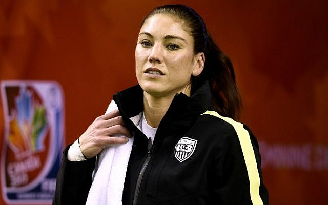 This file photo taken on June 29, 2015, shows USA goalkeeper Hope Solo at a training session in Montreal ahead of a Women's World Cup match. (AFP Photo/Franck Fife)