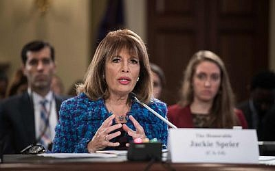"""US Democratic Representative from California Jackie Speier speaks during a House Administration Committee hearing on """"Preventing Sexual Harassment in the Congressional Workplace"""" on Capitol Hill in Washington, DC, on November 14, 2017. (AFP Photo/Nicholas Kamm)"""