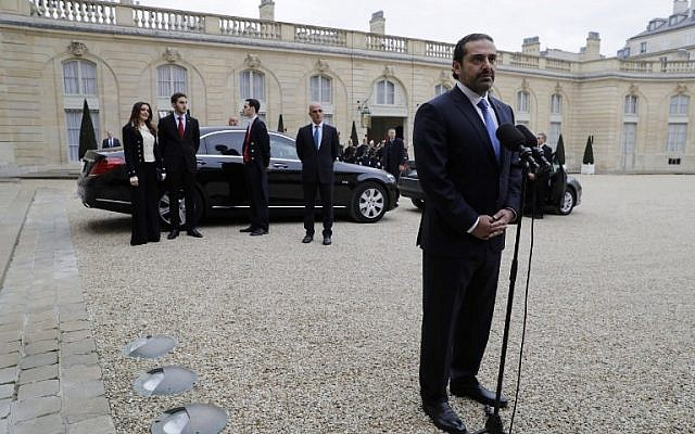 Lebanese Prime Minister Saad Hariri speaks after meeting with French President at the Elysee Presidential Palace on November 18, 2017 in Paris.( AFP PHOTO / Thomas Samson)