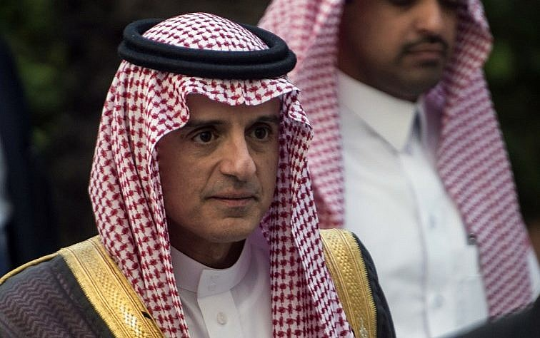 Saudi Foreign Minister Adel al Jubeir arrives for a meeting at the Arab League headquarters in the Egyptian capital Cairo