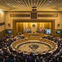 A picture from November 19, 2017, shows a general view of the Arab League headquarters during a meeting in the Egyptian capital Cairo. (AFP/Khaled Desouki)